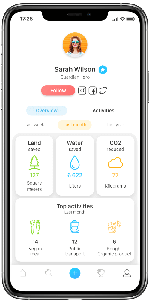 EcoHero user profile screen